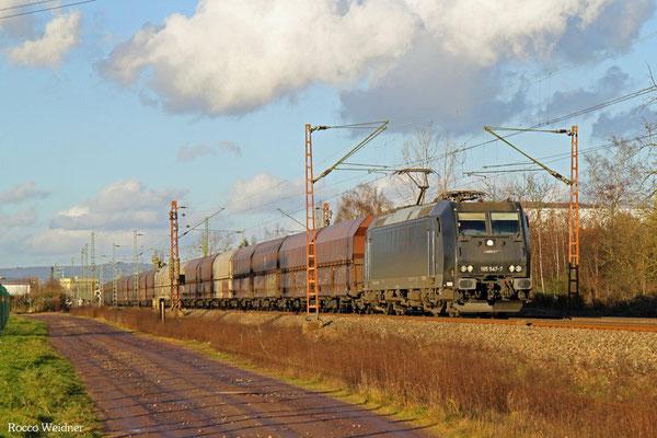 185 547 mit DGS 91114 Duisburg-Ruhort Hafen - Göttelborn, Ensdorf 31.12.2015