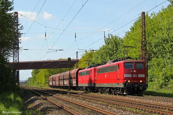 DT 151 006 + 151 043 mit GM 48776 Dillingen Zentralkokerei - Oberhausen West Orm (Umleiter wegen Bauarbeiten Moselstrecke), Saarlouis-Roden 10.05.2015