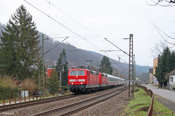 DT 181 218 + 181 205 mit IC 2055 Saarbrücken Hbf - Heidelberg Hbf, Scheidt 19.01.15