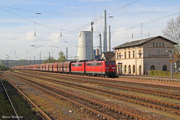 DT 151 083 + 151 147 mit GM 62588 Fürstenhausen - Oberhausen West Orm (Sdl. leere Fal),  Ensdorf(Saar) 21.04.2015