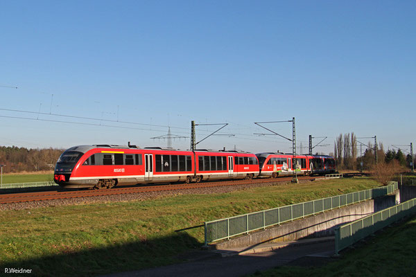 642 177 und 642 102 als Lt 70495 Kaiserslautern Hbf - Trier Hbf (Sdl.), Vogelbach 13.01.15