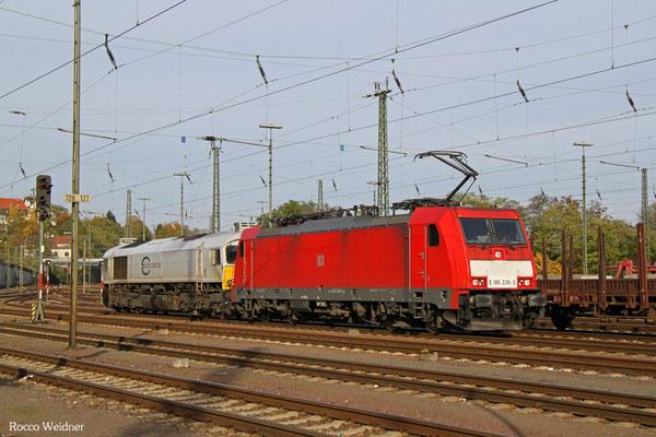 186 338 + 77 003 als T 51900 Landsweiler-Reden - Saarbrücken Rbf Nord, 24.10.2015