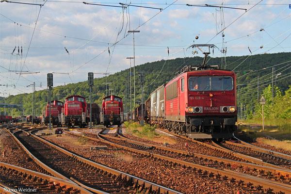 155 028 mit EZ 51911 Saarbrücken Rbf Ost - Mannheim Rbf Gr M, Saarbrücken Rbf 21.05.2015