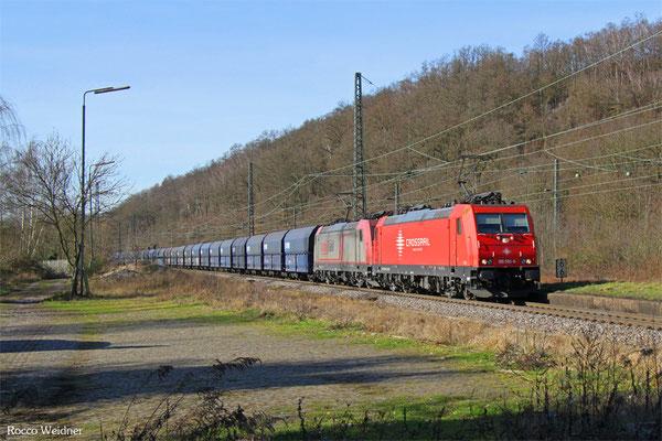 DT 185 595 + 185 591 mit  DGS 69206 (Maasvlake West) Duisburg Ruhrort Hafen - Wemmetsweiler (Sdl. Kohle in Weisspunktwagen), Luisenthal(Saar) 06.02.2016