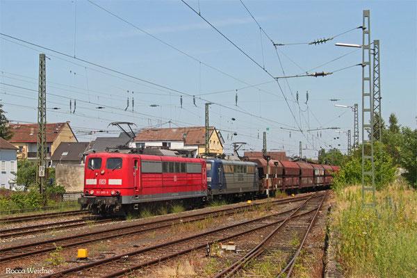 RBH DT 151 085 + 151 024 mit GM 98569 Oberhausen West Orm - Neunkirchen(Saar) Hbf (Sdl.Kohle), Ensdorf(Saar) 04.07.2015