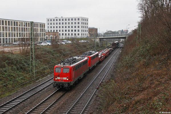 DT 140 861 + 140 805 mit EK 55975 Völklingen-Walzwerk - Saarbrücken Rbf Nord am 23.01.14 auf der Güterumfahrung Saarbrücken (EV)
