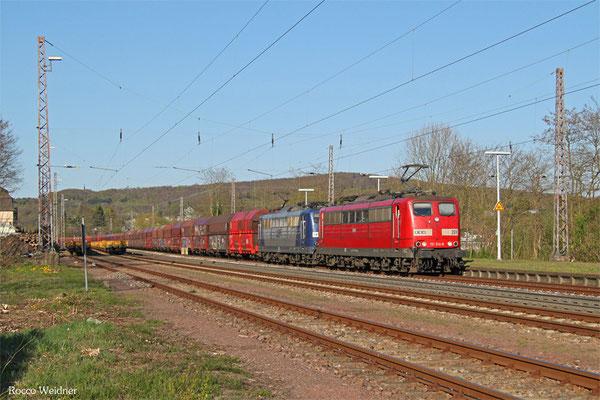 RBH DT 151 014 (269) + 151 123 (263) mit GM 60486 Neunkirchen(Saar) Hbf - Oberhausen West Orm, Dudweiler 18.04.2015
