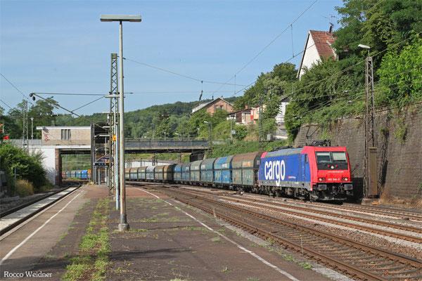 SBB 482 046 (i.E. für HSL) mit DGS 41493 Dillingen Hochofen Hütte - Gubin/PL (Sdl.ex Koks), Jägersfreude 22.07.2015