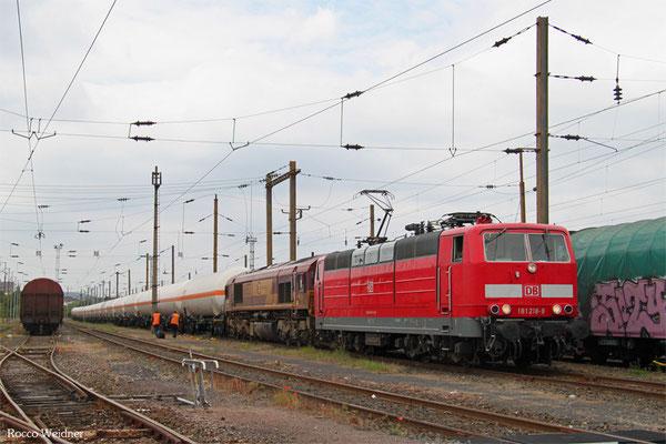 181 218 (im Schlepp ECR 66 052) mit GC 44434 (Creutzwald) Forbach/F - Hüls AG (Sdl.Butadiene), Forbach 19.06.2015