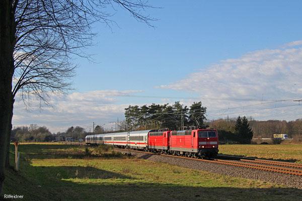 DT 181 204 + 181 215 mit IC 2055 Saarbrücken Hbf - Heidelberg Hbf, Vogelbach 13.01.15