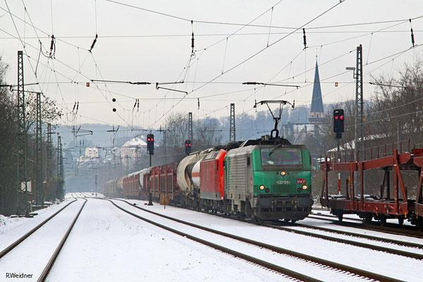 SNCF FRET BB37014 (185 037 kalt) mit EZ 44241 Woippy/F - Mannheim Rbf Gr.M, Dudweiler 27.01.15
