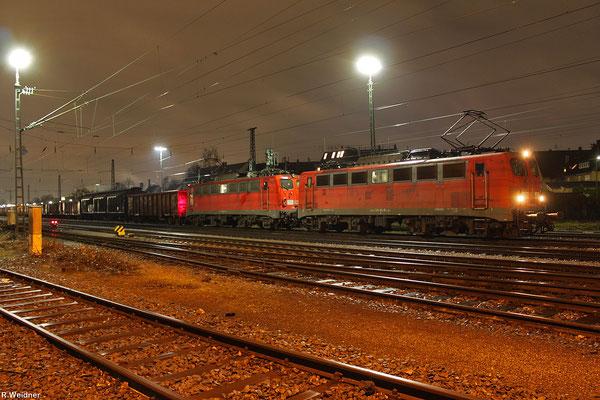 DT 140 861 + 140 805 mit EZ 50903 Saarbrücken Rbf Nord - Karlsruhe West (Karlsruhe Hafen) am 23.01.14 in Karlsruhe West (Sdl.leere Wagen)