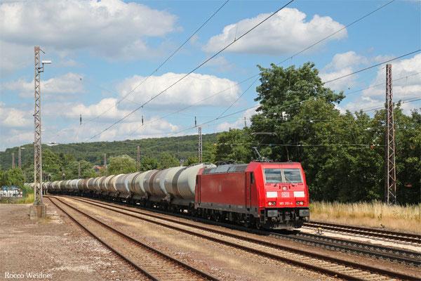 185 351 mit GC 47188 (Hegyeshalom/H) Passau Gbf - Forbach/F (Sdl.Toulen), Dudweiler 21.07.2015