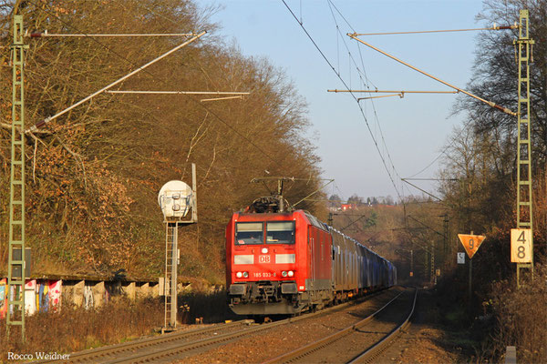 185 033 mit GA 49258 Einsiedlerhof - Forbach/F (Hendaye), Saarbrücken 30.12.2015