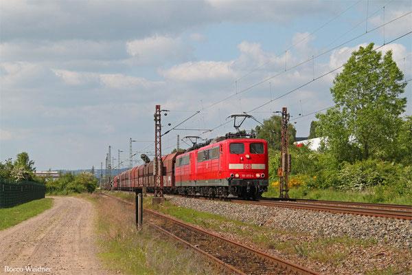 DT 151 077 + 151 020 mit GM 48776 Dillingen Zentralkokerei - Oberhausen West Orm (Umleiter wegen Bauarbeiten Moselstrecke), Ensdorf(Saar) 17.05.2015