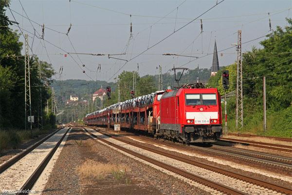 186 335 (im Schlepp 362 564) mit EK 55982 (Einsiedlerhof) Saarbrücken Rbf Nord - Einsiedlerhof (PKW-Drehfahrt), Dudweiler 03.07.2015
