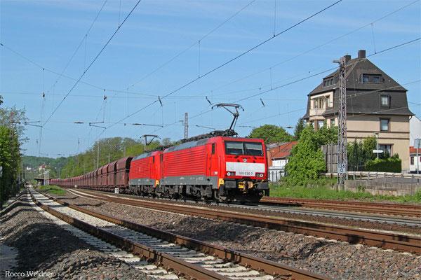 DT 189 036 + 189 039 mit GM 48722 Dillingen Hochofen Hütte - Maasvlakte Oost/NL (Umleiter wegen Bauarbeiten Moselstrecke),  Dudweiler 09.05.2015