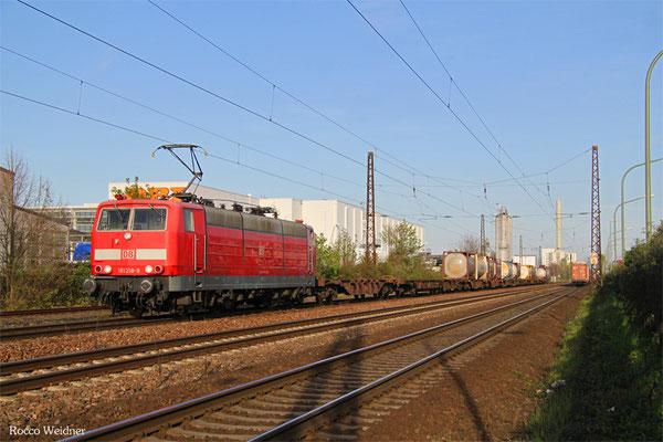 181 218 mit KT 50763 Forbach/F - Ludwigshafen BASF Ubf (Sdl. KV), LU-Oggersheim 21.04.2016