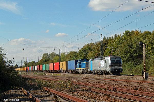 193 804 (im Schlepp 277 405) mit DGS 69073 Imsumer Deich - Stuttgart Hafen,  Mannheim-Friedrichsfeld Süd 21.09.2015