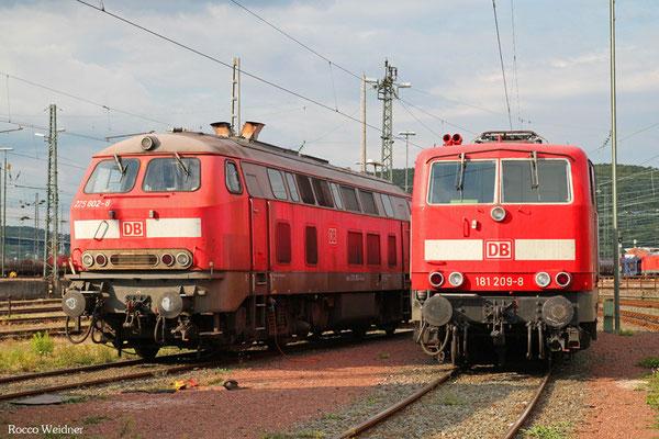 218 009 und 181 209 am 19.08.2015 in Saarbrücken