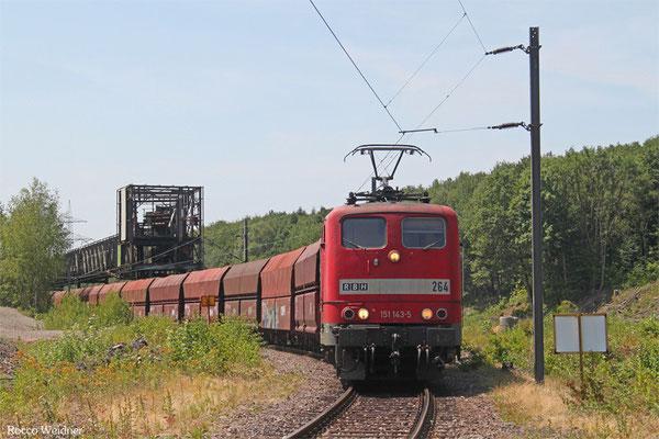 RBH 151 143 mit GM 62475 (KW Weiher) Göttelborn - Neunkirchen(Saar) Hbf (Sdl. leere Fal), Göttelborn 11.07.2015