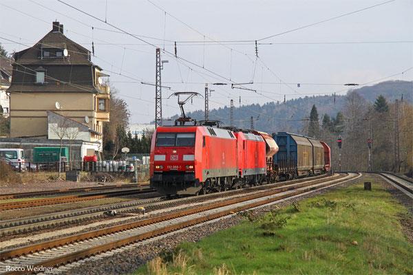 152 088 (im Schlepp 185 204) mit EZ 51912 Mannheim Rbf Gr.G - Saarbrücken Rbf Nord, Dudweiler 18.02.2016