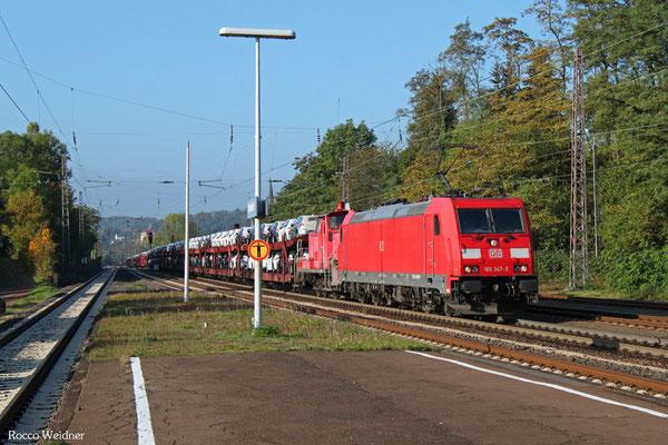 185 347 (im Schlepp 363 139) mit EK 55982 (Einsiedlerhof) Saarbrücken Rbf Nord - Einsiedlerhof (PKW-Drehfahrt), Dudweiler 09.10.2015