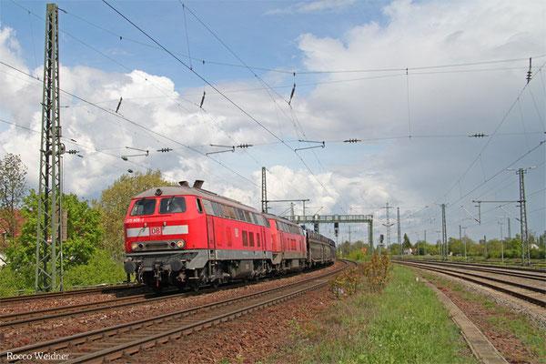 DT 225 805 + 225 021 mit GA 98802 Mannheim-Waldhof Gbf - Saarbrücken Rbf Nord (Gevrey/F) (Sdl.,ex.46386), Neustadt(W)26.04.2015
