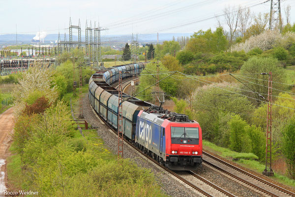 482 046 mit DGS 42483 Dillingen Hochofen Hütte - Gubin/PL (Sdl. ex Koks), Ensdorf 29.04.2016
