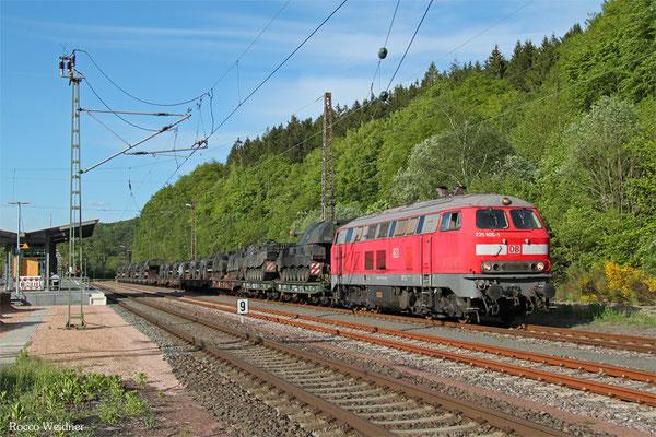 218 005 mit M 62515 Baumholder - Bergen(b.Celle) (Sdl. Militärgut), Türkismühle 18.05.2015