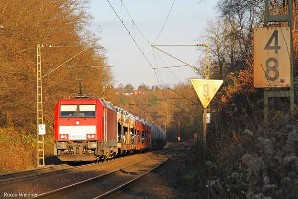 186 329 mit EZ 44288 Einsiedlerhof - Forbach/F (Gevrey Triage), Saarbrücken 03.12.2015