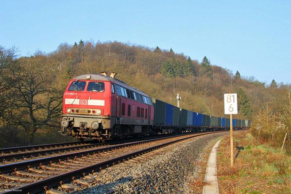 218 002 mit M 41782 ('t Harde) Amersfoort/NL - Baumholder (Sdl.Militärgut), Heimbach(Nahe) 11.04.2016