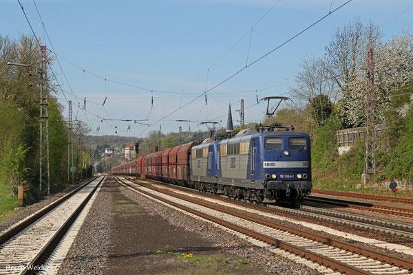 RBH DT 151 084 (266) + 151 024 (263) mit GM 60499 Oberhausen West Orm - Neunkirchen(Saar) Hbf, Dudweiler 20.04.2015