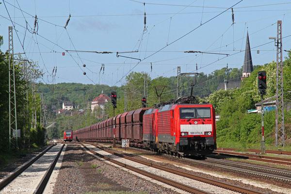 DT 189 074 + 189 041 mit GM 48720 Dillingen Hochofen Hütte - Maasvlakte Oost/NL (Umleiter wegen Bauarbeiten Moselstrecke), Dudweiler 09.05.2015