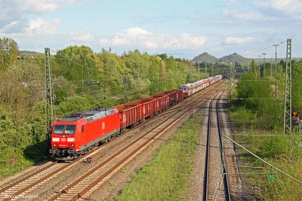 185 049 mit GB 62195 Plochingen - Ehrang Mitte (Sdl.Schienenfahrzeuge) ( ET420 407/408/414 und 421, Empfänger Zerlegewerk Fa.Steil), Bous(Saar) 28.04.2015