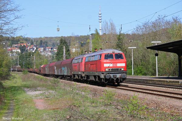 DT 225 073 + 218 002 mit EK 51918 Mannheim Rbf Gr.G - Saarbrücken Rbf Nord, Friedrichsthal  20.04.2016