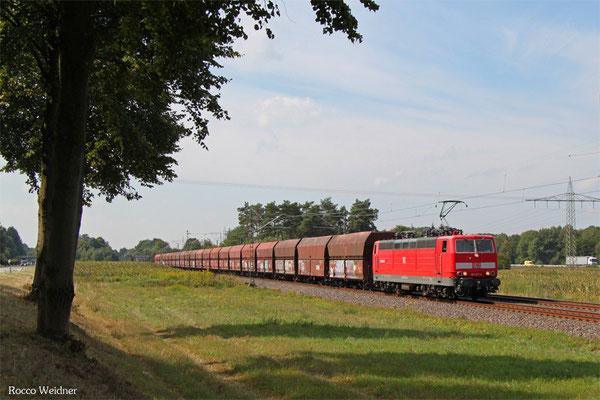 181 211 mit GM 98812 Dillingen Hochofen Hütte - Karlsruhe Rheinbrücke Raffinerie (Sdl. leere Fal), Vogelbach 11.09.2015