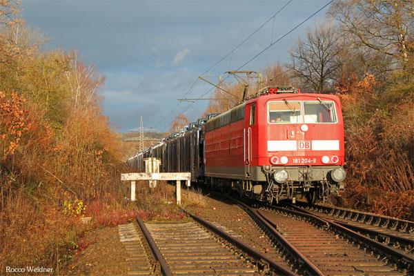 181 204 mit EX 62400 Saarbrücken Rbf West - Dillingen/Ford (Sdl. Frachten), Abzweig Ford/Röderberg 21.12.2015
