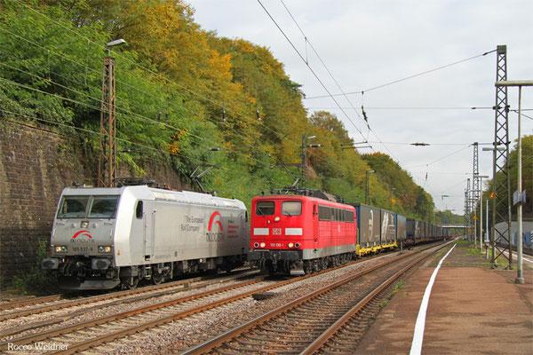 151 135 mit KT 98988 München Ost Rbf - Saarbrücken Rbf Nord (Sdl. KV auf Laagrss), Jägersfreude 08.10.2015