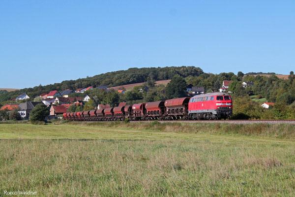 218 005 mit EK 55908 Einsiedlerhof - Rammelsbach-Steinbruch, Rehweiler 30.09.2015