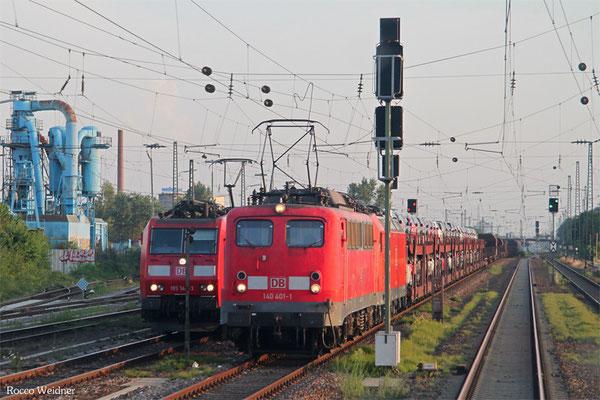 140 401 mit EK 55734 Landau(Pfalz) Hbf - Mannheim Rbf Gr.K (mit Wagen des in RNBO abgest. EZ 51903 SSR-RMR), Ludwigshafen-Rheingönheim 17.07.2015