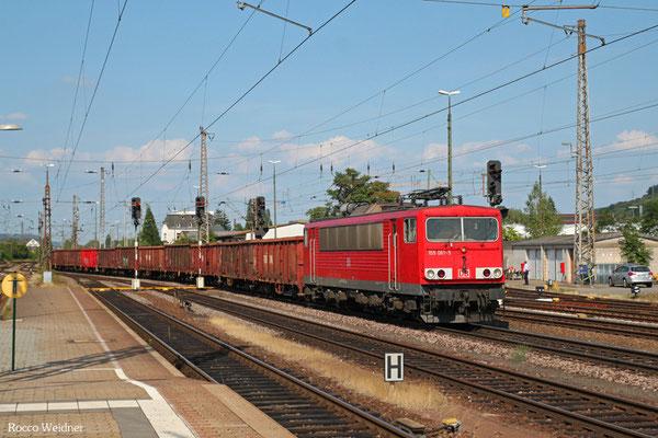 155 061 mit GM 62467 Ehrang Nord - Kehl (Sdl.Siebtrommel-Material), Trier Hbf 21.08.2015