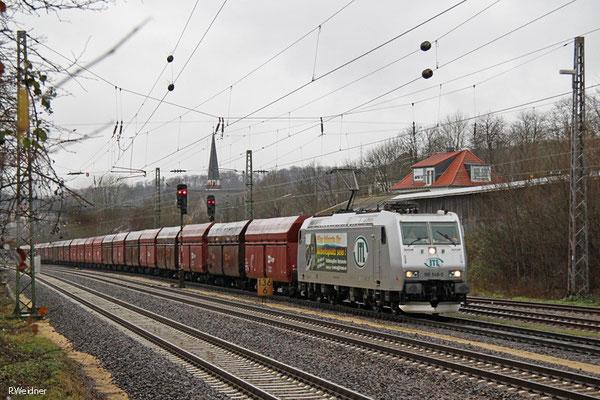 ITL 185 548 mit DGS 95456 Dillingen Hochofen Hütte - Pirna Gbf (Sdl.Leerwagen), Dudweiler 16.01.15