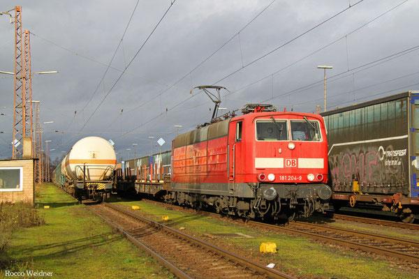 181 204 mit GM 62405 Dillingen(Saar) - Saarbrücken Rbf Nord (Sdl. Rohblöcke aus Stahl), 21.12.2015