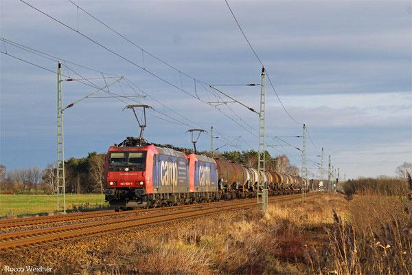 DT 482 009 + 482 006 mit DGS 91298 Ruhland - Ludwigshafen/Rhein BASF Gbf, Rehfeld 26.12.2015