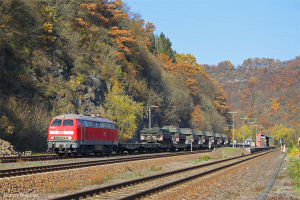 218 005 mit M 62514 Baumholder - Neunkirchen(Saar) Hbf (Sdl. Militär und Personen), Heimbach(Nahe) 02.11.2105