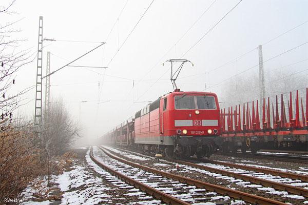 181 218 mit GA 62195 Saarbrücken Rbf Nord - Landsweiler-Reden (Sdl. leere Autowagen , zur Abstellung) 05.01.15