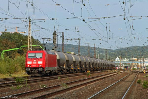 185 347 mit GM 46672 (Ziar nad Hronom/SK) Nürnberg Gbf Ausfahrt - Emmerich Grenze (Rotterdam-Botlek/NL), Aschaffenburg 11.08.2015