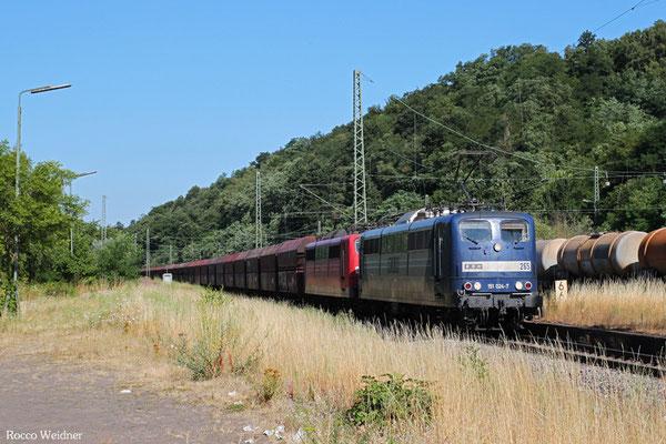 RBH DT 151 024 + 151 ... mit GM 62476 Merzig(Saar) - Fürstenhausen (Sdl.Kohle in WP-Wagen), Luisenthal(Saar) 16.07.2015