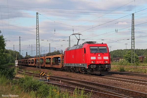 185 387 mit GA 62188 Mannheim Rbf Gr.G - Dillingen Ford (Sdl.leere Autowagen), Einsiedlerhof 14.07.2015